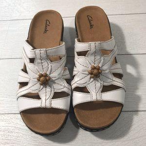 CLARKS White Sandals Size 9XW
